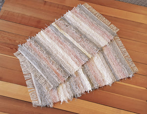 "Kitchen or Bedroom Rug Set - 24"" x 39"" & 24"" x 38"" - Dusty Pink & Gray"