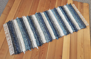 "Kitchen or Hallway Runner Rug - 28"" x 61"" - Navy, Aqua, Country Blue & Gray"