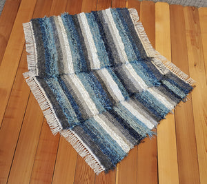 "Kitchen or Bedroom Rug Set - 24 "" x 37"" & 24"" x 35"" & 24"" x 34"" -Navy, Aqua, Country Blue & Gray"