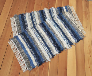 "Kitchen, Bedroom or Door Entry Rug Set - 24"" x 43"" & 24"" x 43"" - Navy, Blue & Gray"