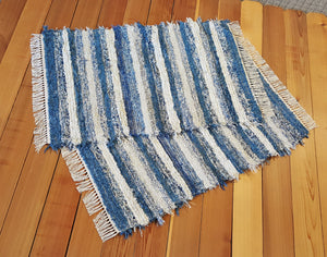 "Kitchen or Bedroom Rug Set - 24 "" x 42"" & 24"" x 42""-Country Blue & Cream"