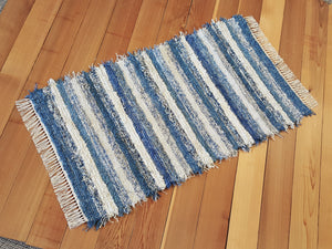 "Kitchen, Bedroom, Bathroom or Door Entry Rug - 28"" x 49"" Country Blue & Cream"