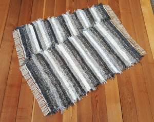 "Kitchen or Bedroom Rug Set - 24 "" x 43"" & 24"" x 43""- Gray & White"