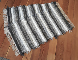 "Kitchen or Bedroom Rug Set - 24 "" x 47"" & 24"" x 45""- Gray & White"