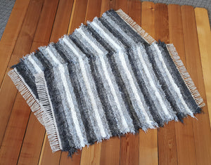 "Kitchen or Bedroom Rug Set - 28"" x 43"" & 28"" x 43""-Gray & White"