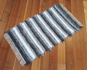"Kitchen or Bedroom Rug - 28"" x 49"" Gray & White"