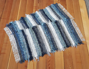 "Kitchen or Bedroom Rug Set - 24 "" x 43"" & 24"" x 42""-Navy, Dusty Blue. & Gray"