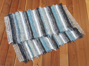 "Kitchen or Bedroom Rug Set - 24 "" x 43"" & 24"" x 42""- Aqua, Gray & White"