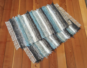 "Kitchen, Bedroom or Door Entry Rug Set - 24 "" x 38"" & 24"" x 37""- Aqua, Gray & White"