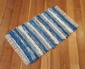 "Kitchen, Bathroom, Bedroom or Door Entry Rug - 24"" x 37"" Country Blue & Oatmeal"