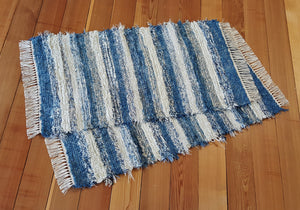 "Kitchen, Bedroom or Door Entry Rug Set - 24"" x 45"" & 24"" x 43"" Country Blue & Oatmeal"