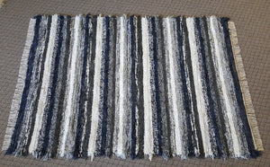 Living Room, Sunroom, Nursery or Family Room Rug -5' x 7'-  Navy, Gray & White