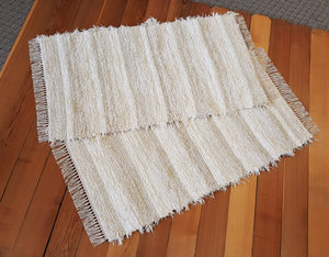 "Kitchen, Bedroom or Door Entry Rug Set - 28"" x 50"" & 28"" x 48"" Ivory & Cream"