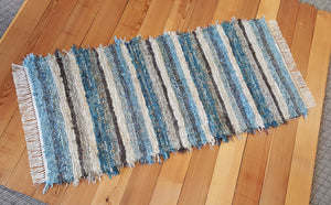 "Kitchen or Hallway Runner Rug - 28"" x 61"" - Teal & Chocolate"