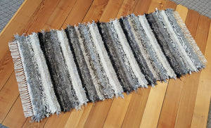 "Kitchen or Hallway Runner Rug - 28"" x 61"" - Black, Gray, Tan & Oatmeal"