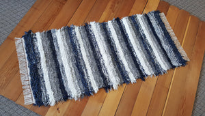 "Kitchen or Hallway Runner Rug - 28"" x 61"" -Navy & Gray"
