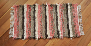 "Kitchen, Bathroom, Bedroom or Door Entry Rug - 24"" x 48"" Coral , Chocolate, Taupe & Cream"