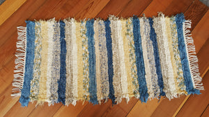 "24"" x 51"" Country Blue U. S. HAND WOVEN Small Area Rag Rug"