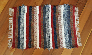"28"" x 44"" Red, White & Blue U. S. HAND WOVEN Textured Medium Area Rag Rug"