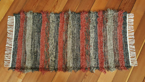 "24"" x 51"" Granite & Chestnut U.S. HAND WOVEN Small Area Rag Rug"