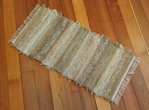 "24"" x 48"" Sage Green U.S. HAND WOVEN Small Area Rag Rug"