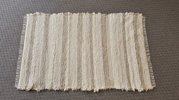 4' x 6' Ivory, Creme & Honey U. S. HAND WOVEN Large Area Textured Rag Rug