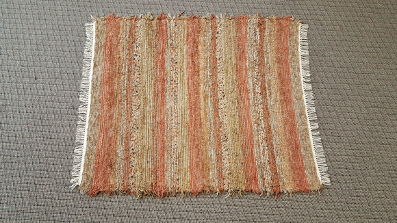 4' x 5' Burnt Orange U.S. HAND WOVEN Large Area Textured Rag Rug