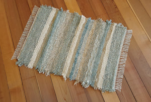 "28"" x 40"" Aqua U.S. HAND WOVEN Textured Medium Area Rag Rug"
