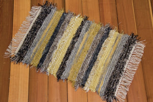 "20"" x 30"" Grey & Yellow U.S. HAND WOVEN Small Area Rag Rug"