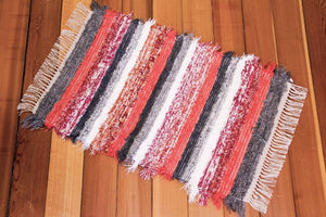 "24"" X 37"" Grey & Coral U.S. HAND WOVEN Small Area Rag Rug"