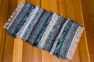 "24"" x 38"" Grey & Teal U.S. HAND WOVEN Small Area Rag Rug"