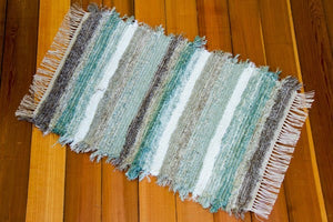 "24"" x 36"" Grey & Aqua U. S. HAND WOVEN Small Area Rag Rug"