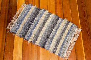 "24"" x 38"" Periwinkle Blue & Grey U.S. HAND WOVEN Small Area Rag Rug"