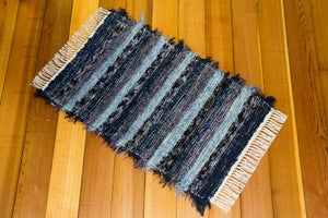 "24"" x 41"" Dusty Cornflower Blue & Deep Navy U.S. HAND WOVEN Small Area Rag Rug"