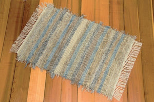 "24"" x 44"" Cornflower Blue & EarthTone U.S. HAND WOVEN Small Area Rag Rug"
