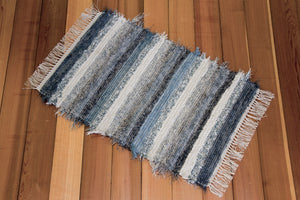 "24"" x 38"" Cornflower & Grey U.S. HAND WOVEN Small Area Rag Rug"