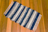 "24"" x 37"" Navy & Grey U.S. HAND WOVEN Small Area Rag Rug"