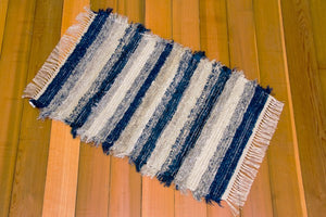 "24"" x 38"" Navy & Grey U.S. HAND WOVEN Small Area Rag Rug"