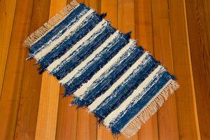 "24"" x 43"" Country Blue & Navy U.S. HAND WOVEN Small Area Rag Rug"