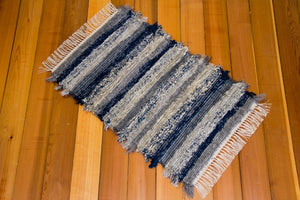 "24"" x 38"" Grey & Navy U.S. HAND WOVEN Small Area Rag Rug"