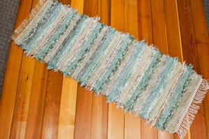 "Kitchen or Hallway Runner Rug - 24"" x 66"" Aqua & Gray"