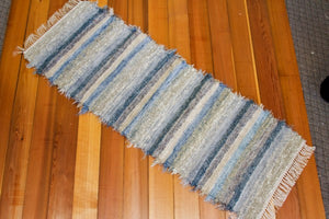 "Kitchen or Hallway Runner Rug - 24"" x 68"" Cornflower Blue & Oatmeal"