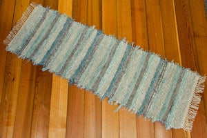 "Kitchen or Hallway Runner Rug - 20"" x 62"" Aqua & Gray"