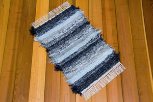 "20"" x 31"" Indigo/Charcoal & Light Blue  U.S. HAND WOVEN Small Area Rag Rug"