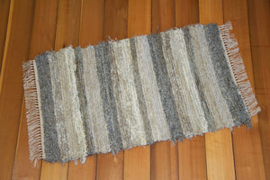 "24"" x 41"" Gray, Taupe & Cream U.S. HAND WOVEN Small Area Rag Rug"