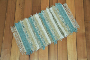"20"" x 32"" Aqua & Honey U.S. HAND WOVEN Small Area Rag Rug"