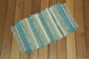 "20"" x 39"" Aqua & Honey U.S. HAND WOVEN Small Area Rag Rug"