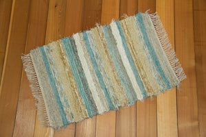 "Kitchen, Bathroom, Bedroom or Door Entry Rug - 24"" x 36"" Aqua & Honey"