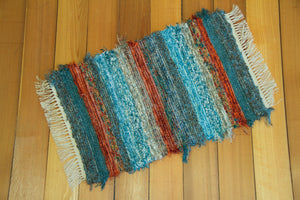 "Bathroom or Kitchen Rug - 20"" x 26"" Teal & Burnt Orange"