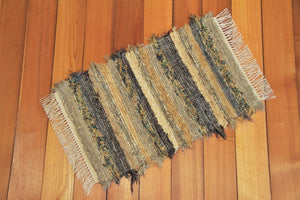 "Kitchen, Bathroom or Door Entry Rug - 20"" x 43"" Olive & Taupe"